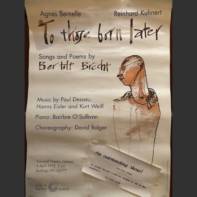 Plakat To those born later - Bertolt Brecht
